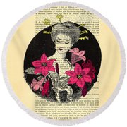 Japanese Lady With Cherry Blossoms Round Beach Towel