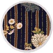 Japanese Maple And Chrysanthemum Modern Interior Art Painting. Round Beach Towel