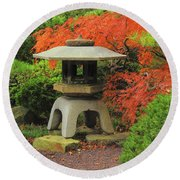 Japanese Maple And Lantern 1 Round Beach Towel