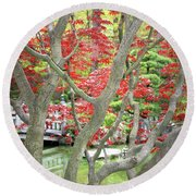 Japanese Maple Tree And Pond Round Beach Towel