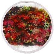 Japanese Maple Under The Willow Round Beach Towel