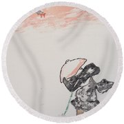 Japanese Shrine And Isolated Monk Round Beach Towel