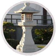 Japanese Stone Pagoda Round Beach Towel