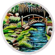Japanese Tea Gardens Round Beach Towel