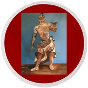 Japanese Temple Guard Round Beach Towel