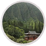 Japanese Temple Round Beach Towel