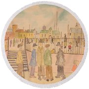Japanese Whispers In Respect Of Lowry Round Beach Towel