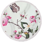 Japonica Magnolia And Butterflies Round Beach Towel