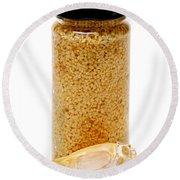 Jar Of Minced Garlic And Clove Round Beach Towel
