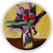 Jar With Tulips Round Beach Towel