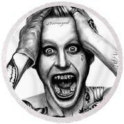 Jared Leto As The Joker Round Beach Towel