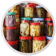 Jars Of Asian Style Pickles In Kep Market Cambodia Round Beach Towel