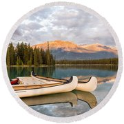 Jasper Lake Canoes Round Beach Towel