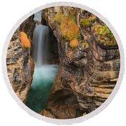 Jasper Maligne Canyon Waterfall Round Beach Towel