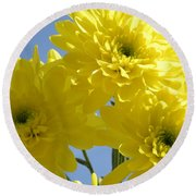 Yellow Trio Round Beach Towel