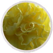 Yellow Waves Round Beach Towel