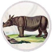 Javan Rhinoceros, Endangered Species Round Beach Towel