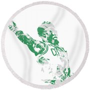 Jaylen Brown Boston Celtics Pixel Art 11 Round Beach Towel