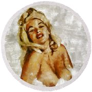 Jayne Mansfield, Vintage Hollywood Actress And Pinup By Mary Bassett Round Beach Towel