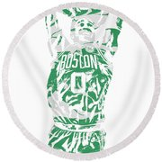 Jayson Tatum Boston Celtics Pixel Art 12 Round Beach Towel