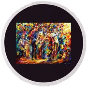 Jazz Band - Palette Knife Oil Painting On Canvas By Leonid Afremov Round Beach Towel