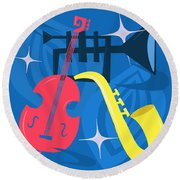 Jazz Composition With Bass, Saxophone And Trumpet Round Beach Towel