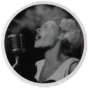 Jazz Great Billie Holiday Round Beach Towel