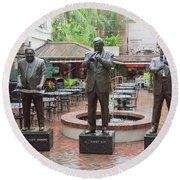 Jazz Greats Al Hirt Fats Domino Pete Fountain Stature New Orleans  Round Beach Towel