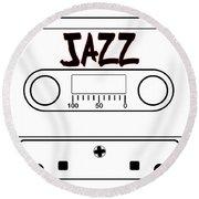 Jazz Music Tape Cassette Round Beach Towel