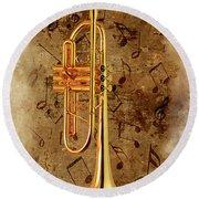 Jazz Trumpet Round Beach Towel