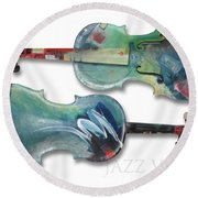 Jazz Violin - Poster Round Beach Towel