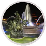 J.c. Nichols Fountain-4981 Round Beach Towel