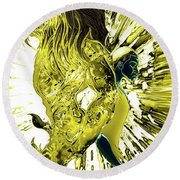 Jd And Leo- Inverted Gold Round Beach Towel