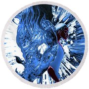 Jd And Leo- Inverted Ice Blue Round Beach Towel