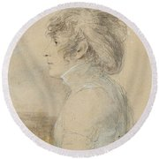 Jean-baptiste Isabey  1767 - 1855  Portrait Of Josephine In Malmaison Round Beach Towel