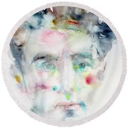Jean Cocteau - Watercolor Portrait.2 Round Beach Towel