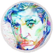 Jean Gabin - Colored Pens Portrait Round Beach Towel