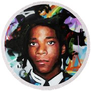 Jean, Michel, Basquiat II Round Beach Towel
