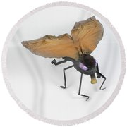 Jeanetic Violet-eyed Fly Round Beach Towel by Michael Jude Russo