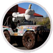 Jeep Art Round Beach Towel