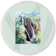 Jeeping At Bridal Falls  Round Beach Towel