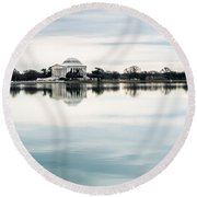 Jefferson Memorial And Tidal Basin Round Beach Towel