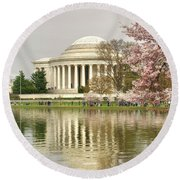 Jefferson Memorial Reflection I Round Beach Towel
