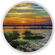 Jekyl Island Sunset Round Beach Towel