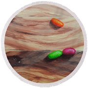 Jelly Beans On Wood Round Beach Towel