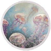 Jelly-fish Round Beach Towel