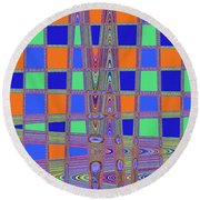 Jelly Fish On The Beach Abstract Round Beach Towel
