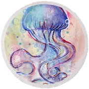 Jelly Fish Watercolor Round Beach Towel