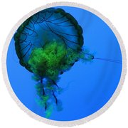 Jellyfish In Green Round Beach Towel