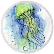 Jellyfish Watercolor Round Beach Towel